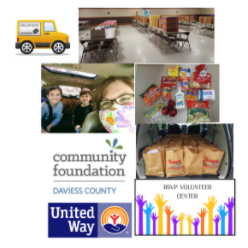 RSVP providing groceries to Seniors, partially funded by UWDC Covid Relief Grant